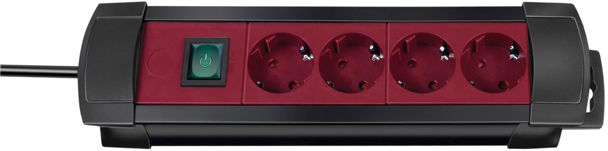 Brennenstuhl Premium-Line 4-fach schwarz/bordeaux mit Schalter, 1,8m H05VV-F3G1,5
