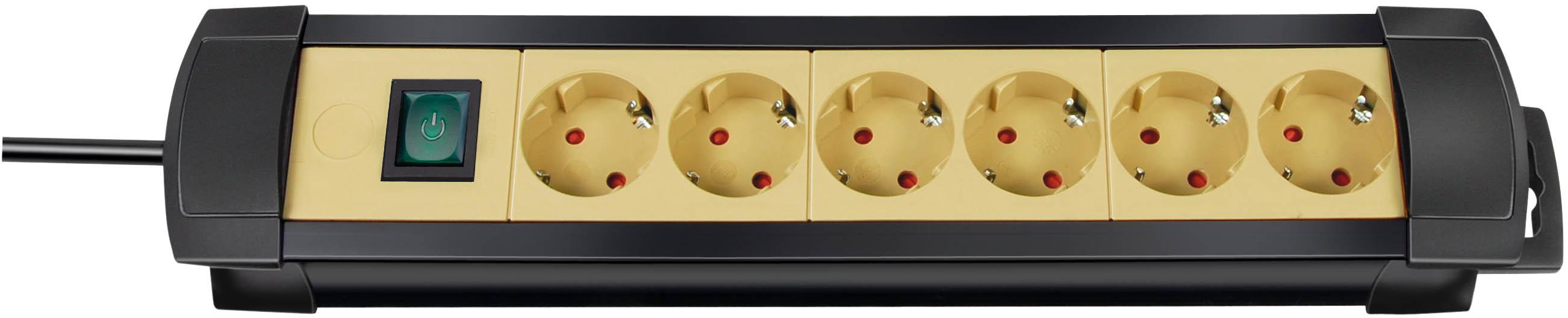 Brennenstuhl Premium-Line 6-fach schwarz/sand mit Schalter, 3m H05VV-F3G1,5