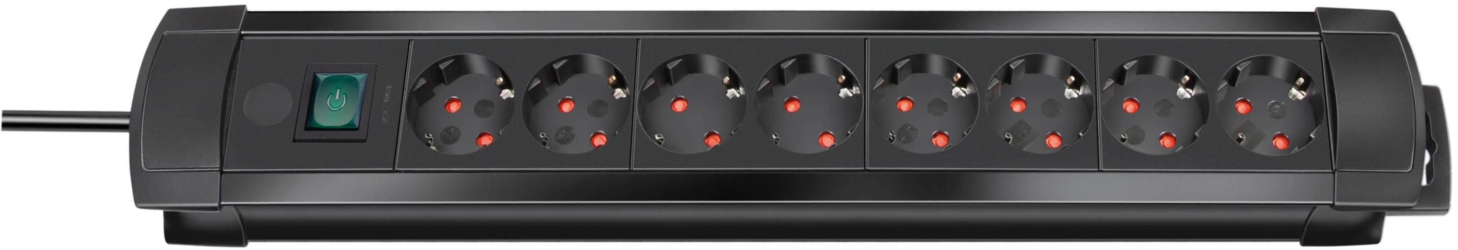 Brennenstuhl Premium-Line 8-fach schwarz/schwarz mit Schalter, 3m H05VV-F3G1,5