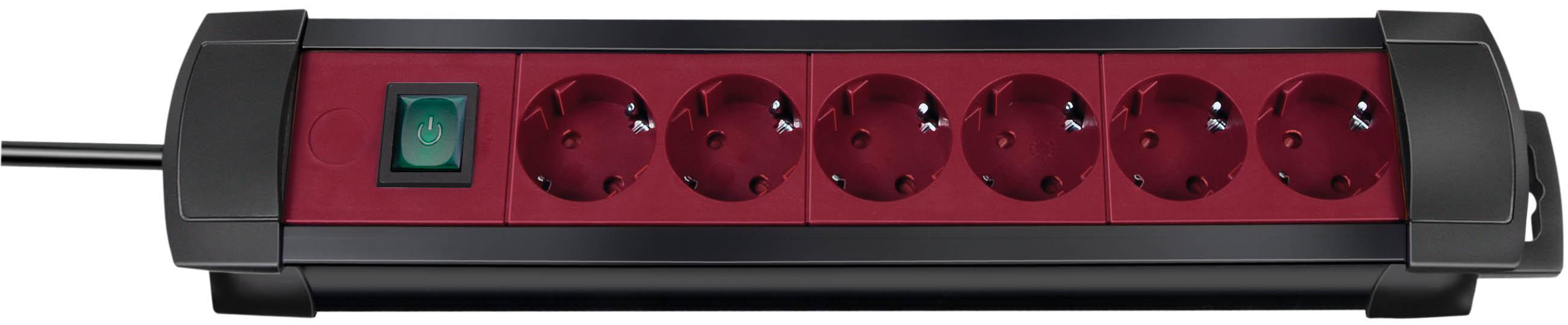 Brennenstuhl Premium-Line 6-fach schwarz/bordeaux mit Schalter, 3m H05VV-F3G1,5
