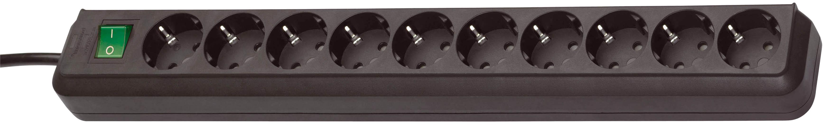 Brennenstuhl Stedo-Leiste 10-Fach,3m H05VV-F3G1,5 ECO-Line schwarz mit Schalter *D*